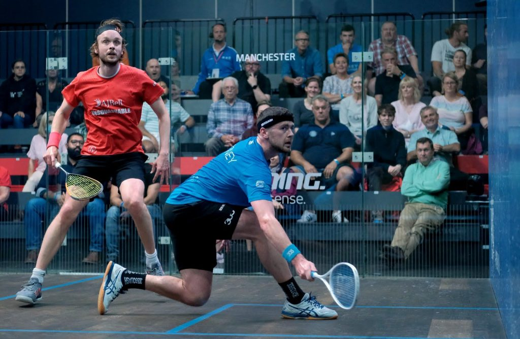 Patrick Rooney (right) in action against James Willstrop (left)