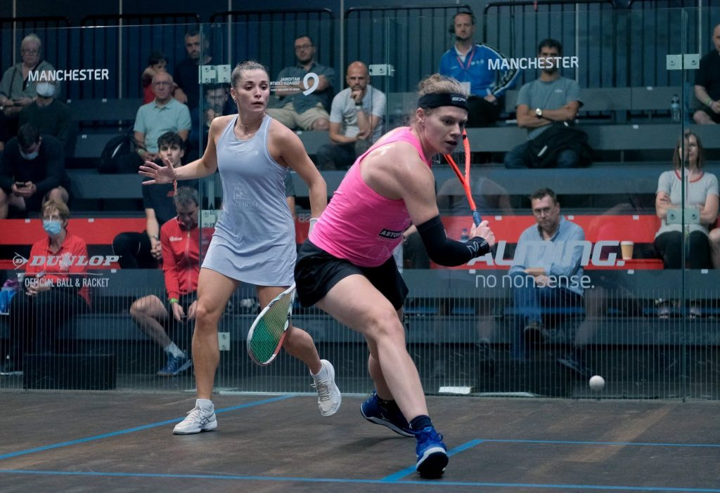 Sarah-Jane Perry (right) takes on Jasmine Hutton (left)